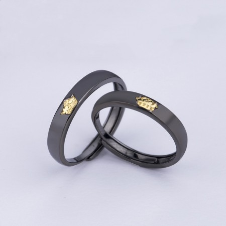 Adjustable King And Queen Crown Matching Promise Rings In Sterling Silver