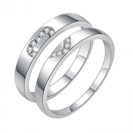 Engravable Matching Heart Promise Rings For Couples In Sterling Silver