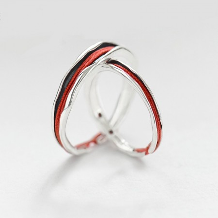 Original Design Red Line 925 Sterling Silver Lovers Ring