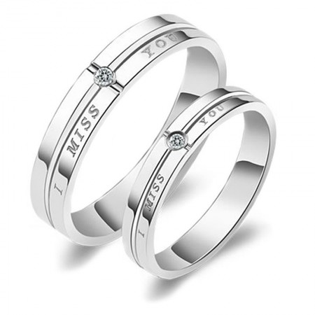 Miss you Fashion Design Sterling Silver Inlaid CZ Couple Promise Rings