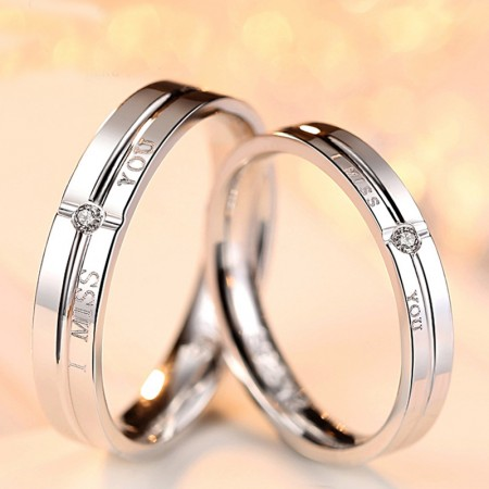 Promise Rings I Miss You 925 Sterling Silver Cubic Zirconia Couple Rings (Price For a Pair)