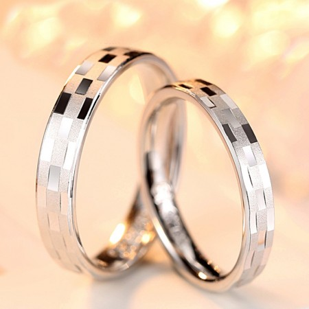 Frosted Grid 925 Sterling Silver Wedding/Promise/Couple Rings (Price For a Pair)