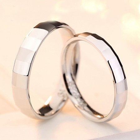 Glossy Slub 925 Sterling Silver Wedding/Promise/Couple Rings (Price For a Pair)