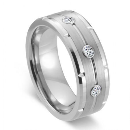 Tungsten Inlaid Rhinestones Promise/Wedding Rings