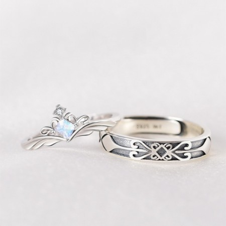 Original Design Princess And Knight Moonstone 925 Sterling Silver Promise Rings