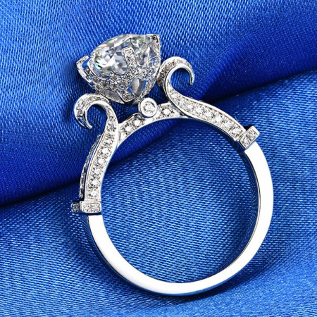 1.5 CT 2.0 CT 3.0 CT 925 Silver Platinum Plated Round Simulated Diamond Promise/Wedding/Engagement Ring For Women Girl Friends Valentine's Day Gift