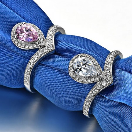 0.8 CT 925 Silver Platinum Plated Pink Or White Pear Simulated Diamond Promise/Wedding/Engagement Ring For Women Girl Friends Valentine's Day Gift