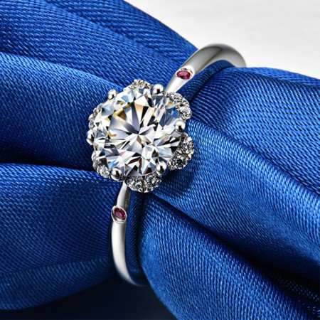 0.5 CT 1.0 CT 2.0 CT 925 Silver Platinum Plated Round Simulated Diamond Promise/Wedding/Engagement Ring For Women Girl Friends Valentine's Day Gift