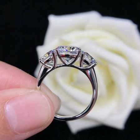 4.0 CT 925 Silver Platinum Plated Round Simulated Diamond Promise/Wedding/Engagement Ring For Women Girl Friends Valentine's Day Gift