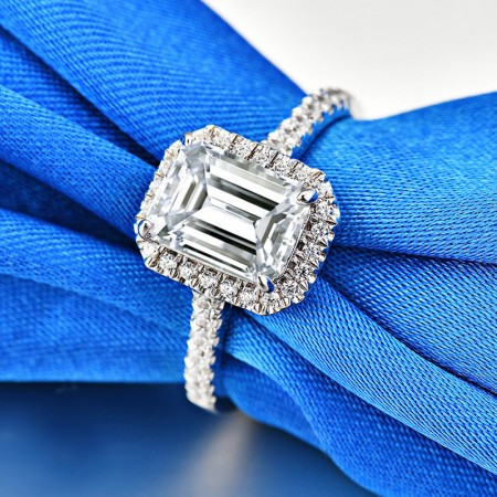 2.0 CT 925 Silver Platinum Plated Emerald Simulated Diamond Promise/Wedding/Engagement Ring For Women Girl Friends Valentine's Day Gift
