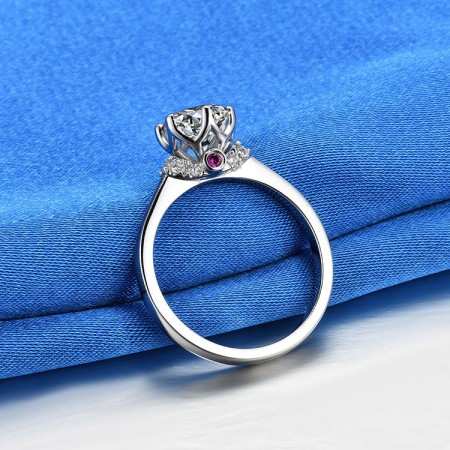 0.5 CT 1.0 CT 925 Silver Platinum Plated Round Simulated Diamond Promise/Wedding/Engagement Ring For Women Girl Friends Valentine's Day Gift