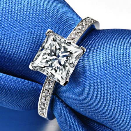 2.0 CT 925 Silver Platinum Plated Princess Simulated Diamond Promise/Wedding/Engagement Ring For Women Girl Friends Valentine's Day Gift