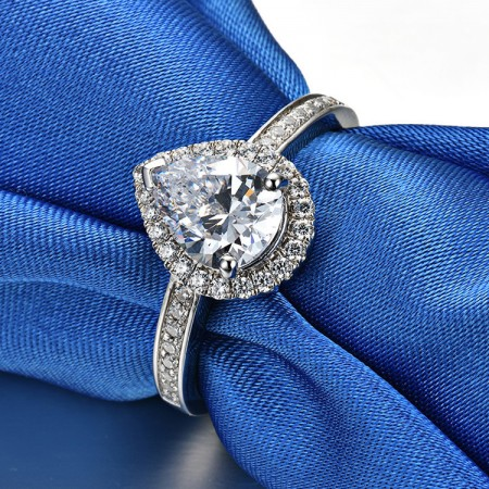 2.0 CT 3.0 CT 925 Silver Platinum Plated Pear Simulated Diamond Promise/Wedding/Engagement Ring For Women Girl Friends Valentine's Day Gift