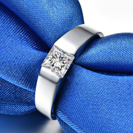 0.5 CT 1.0 CT 925 Silver Platinum Plated Princess Simulated Diamond Promise/Wedding/Engagement Ring For Men Valentine's Day Gift