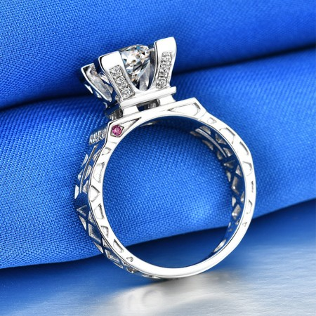 The Eiffel Tower 1.0 CT 925 Silver Platinum Plated Round Simulated Diamond Promise/Wedding/Engagement Ring For Women Girl Friends Valentine's Day Gift