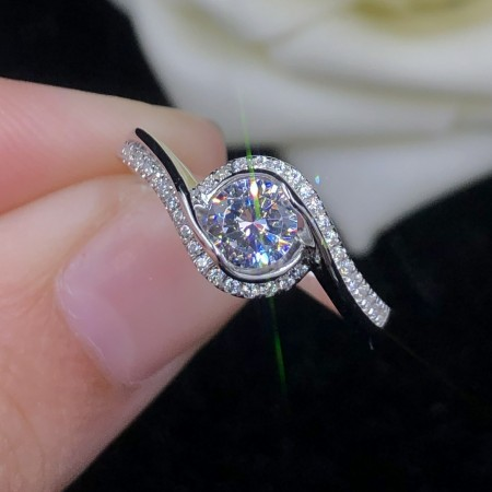 0.5 CT 925 Silver Platinum Plated Round Simulated Diamond Promise/Wedding/Engagement Ring For Women Girl Friends Valentine's Day Gift