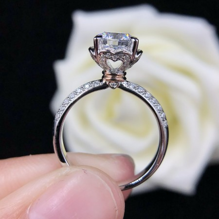 0.5 CT 1.0 CT 925 Silver Platinum Plated Pink White Heart Simulated Diamond Promise/Wedding/Engagement Ring For Women Girl Friends Valentine's Day Gift