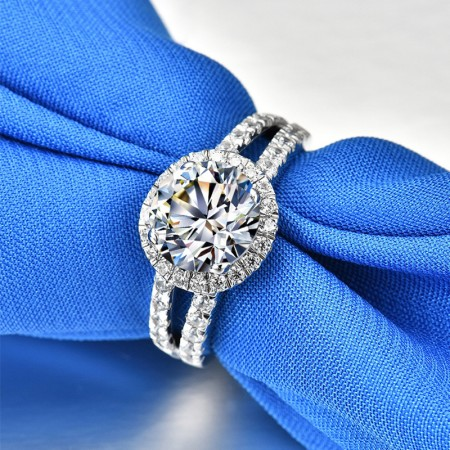 1.5 CT 925 Silver Platinum Plated Round Simulated Diamond Promise/Wedding/Engagement Ring For Women Girl Friends Valentine's Day Gift
