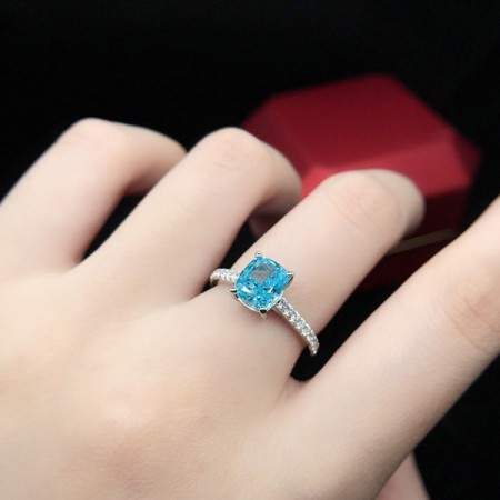 1.5 CT 925 Silver Platinum Plated Sky Blue Princess Simulated Diamond Promise/Wedding/Engagement Ring For Women Girl Friends Valentine's Day Gift