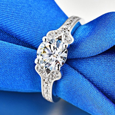 1.0 CT 925 Silver Platinum Plated Round Simulated Diamond Promise/Wedding/Engagement Ring For Women Girl Friends Valentine's Day Gift