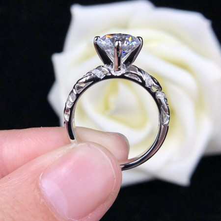 1.0 CT 2.0 CT 925 Silver Platinum Plated Round Simulated Diamond Promise/Wedding/Engagement Ring For Women Girl Friends Valentine's Day Gift