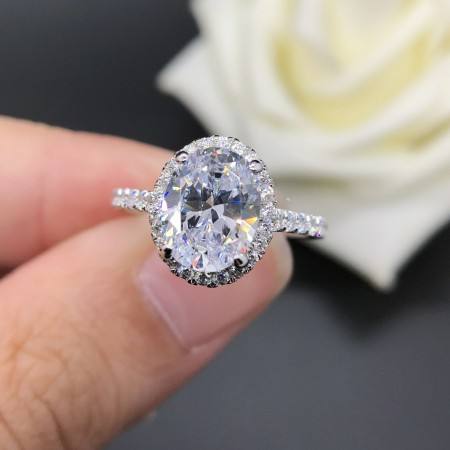 2.0 CT 925 Silver Platinum Plated Oval Simulated Diamond Promise/Wedding/Engagement Ring For Women Girl Friends Valentine's Day Gift