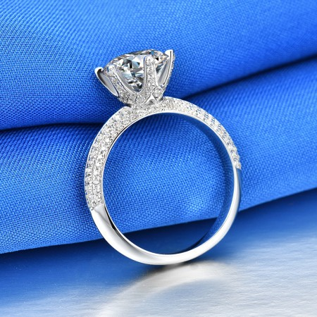 1.5 CT 3.0 CT 925 Silver Platinum Plated Round Simulated Diamond Promise/Wedding/Engagement Ring For Women Girl Friends Valentine's Day Gift