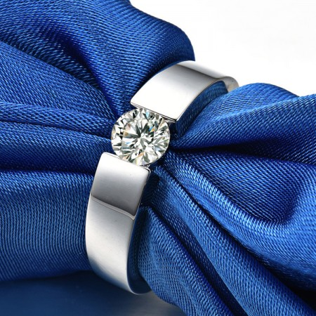 0.3 CT 0.5 CT 1.0 CT 925 Silver Platinum Plated Round Simulated Diamond Promise/Wedding/Engagement Ring For Men Valentine's Day Gift