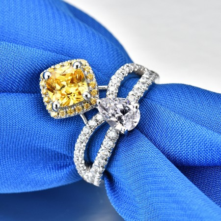 1.0 CT 925 Silver Platinum Plated Yellow Asscher Simulated Diamond Promise/Wedding/Engagement Ring For Women Girl Friends Valentine's Day Gift