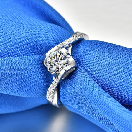 0.5 CT 925 Silver Platinum Plated Sky Blue Princess Simulated Diamond Promise/Wedding/Engagement Ring For Women Girl Friends Valentine's Day Gift