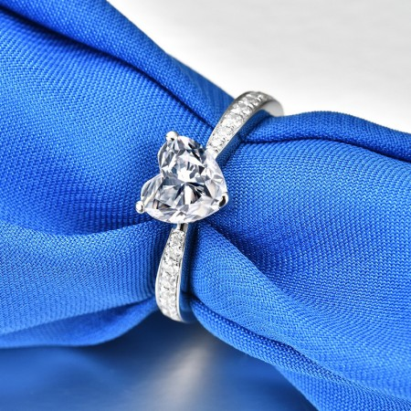 1.0 CT 925 Silver Platinum Plated Heart Simulated Diamond Promise/Wedding/Engagement Ring For Women Girl Friends Valentine's Day Gift