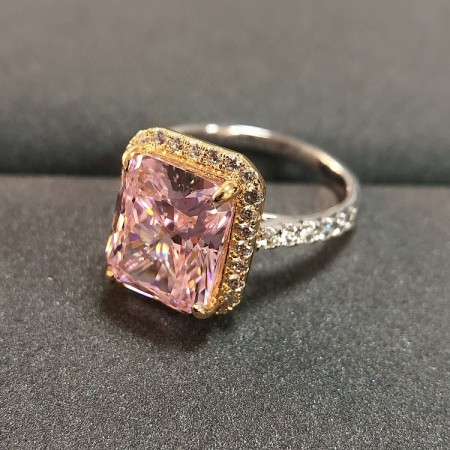 5.0 CT 925 Silver Platinum Plated Pink Emerald Simulated Diamond Promise/Wedding/Engagement Ring For Women Girl Friends Valentine's Day Gift