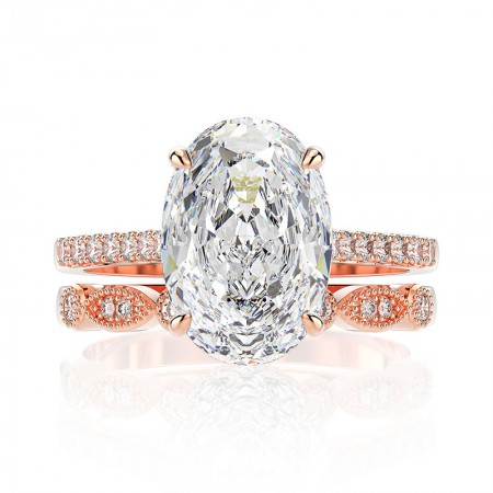 Oval Cut White Sapphire 925 Sterling Silver Engagement Ring Set