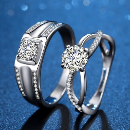 Infinity Love Matching Couple Wedding Rings In Sterling Silver Plated Platinum