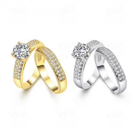 Fashion Zircon Inlaid Gold-Plated Couple Rings