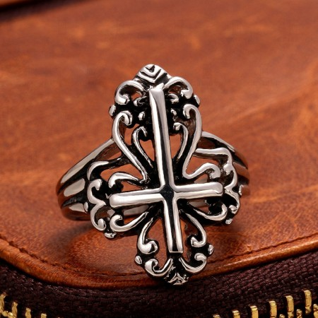 Men'S Stainless Steel Cross Ring