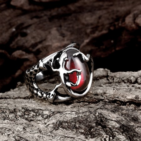 Personalized Ruby Stainless Steel Men'S Rings