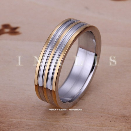 925 Silver Room Stripe Steel Ring