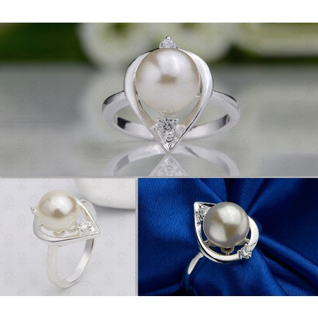 925 Silver Plated Pearl Inlay Ring
