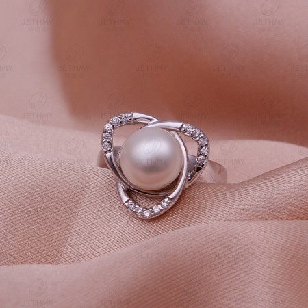 High Quality Alloy Inlaid Pearl Ring