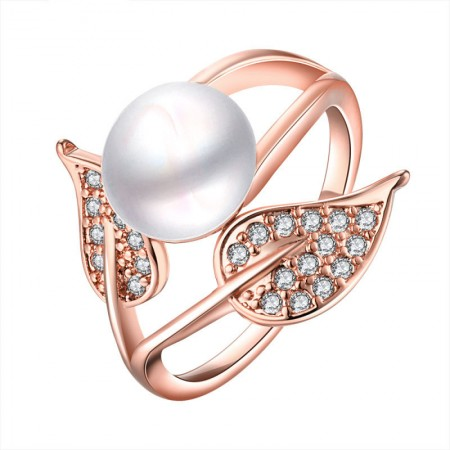 Rose Golden Plated Pearl Inlay Ring