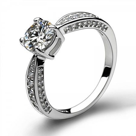 Wonderful Round CZ Inlaid Four Claw 925 Sterling Silver Engagement Ring