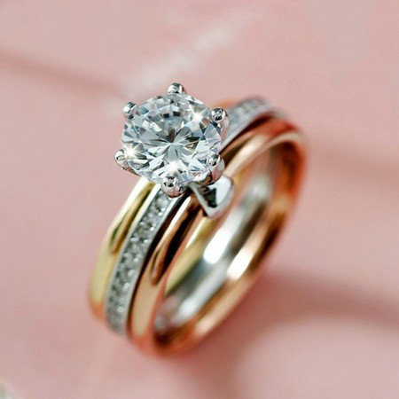 Fashion Three Colors Round CZ Inlaid 925 Sterling Silver Engagement Ring Set