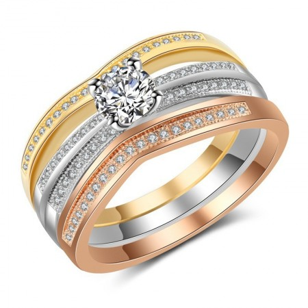Shiny CZ Inlaid Three Different Color Ring Set