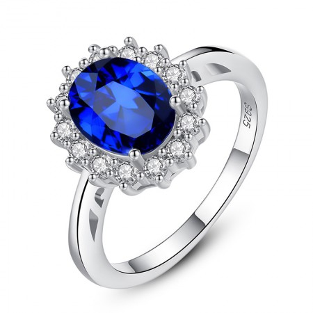 Dazzling Sapphire S925 Silver 18K Gold Finger Ring For Women