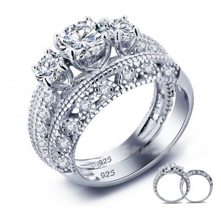 Fashion Round Cut Cubic Zircon Hollow 925 Sterling Silver Engagement Ring Set