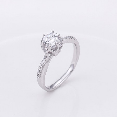 Stunning Women's Sterling Silver Ring With Hearts And Arrows Cut Diamond CZ Engravable