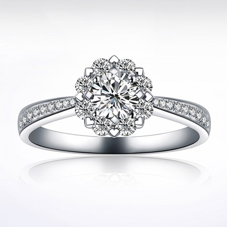 Romantic 925 Sterling Silver CZ Inlaid Engagement Ring For Women