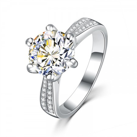 925 Silver Stars Platinum Plated Ring