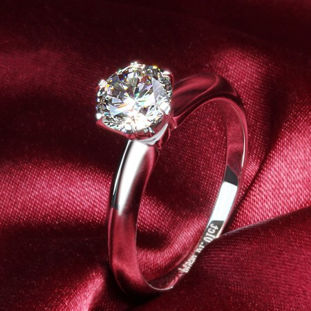 18K White Gold Plated Sterling Silver Engagement / Wedding Ring With SONA Diamond